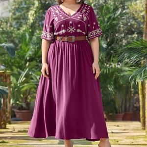 PLUS SIZE Berry V neck Embroidered A-line Dress